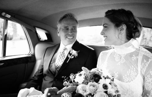 The drive to your wedding, alone with a loved one.