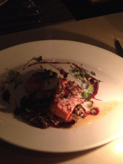 Slow cooked Steelhead Trout with fresh porcini mushrooms and roasted pearl onions from Chef Michael Schlow at the Sunset Marquis.
